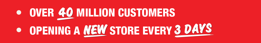Over 40 Million customers and New store every 3 days
